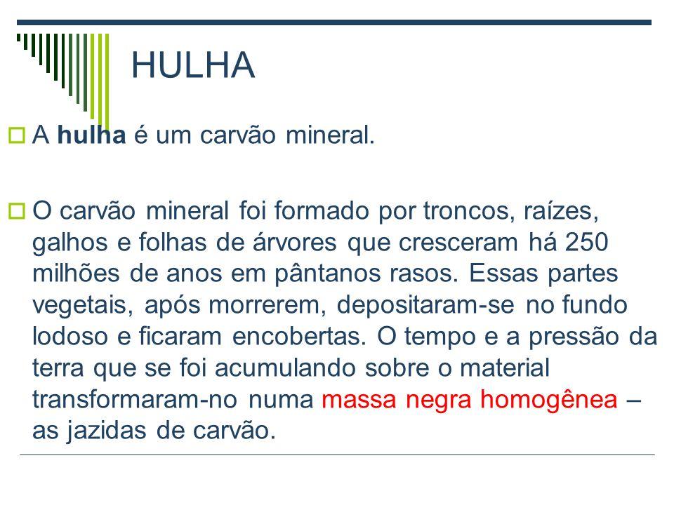 HULHA A hulha é um carvão mineral.