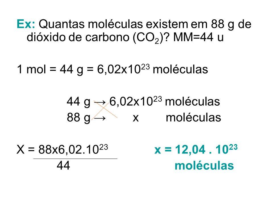 Ex: Quantas moléculas existem em 88 g de dióxido de carbono (CO2)
