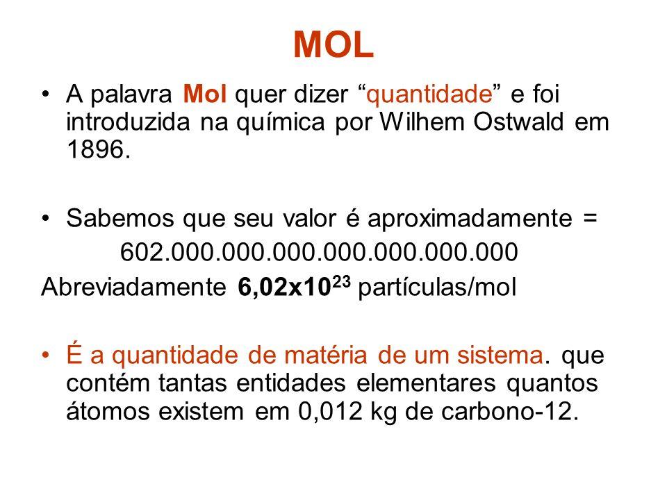 MOL A palavra Mol quer dizer quantidade e foi introduzida na química por Wilhem Ostwald em 1896. Sabemos que seu valor é aproximadamente =