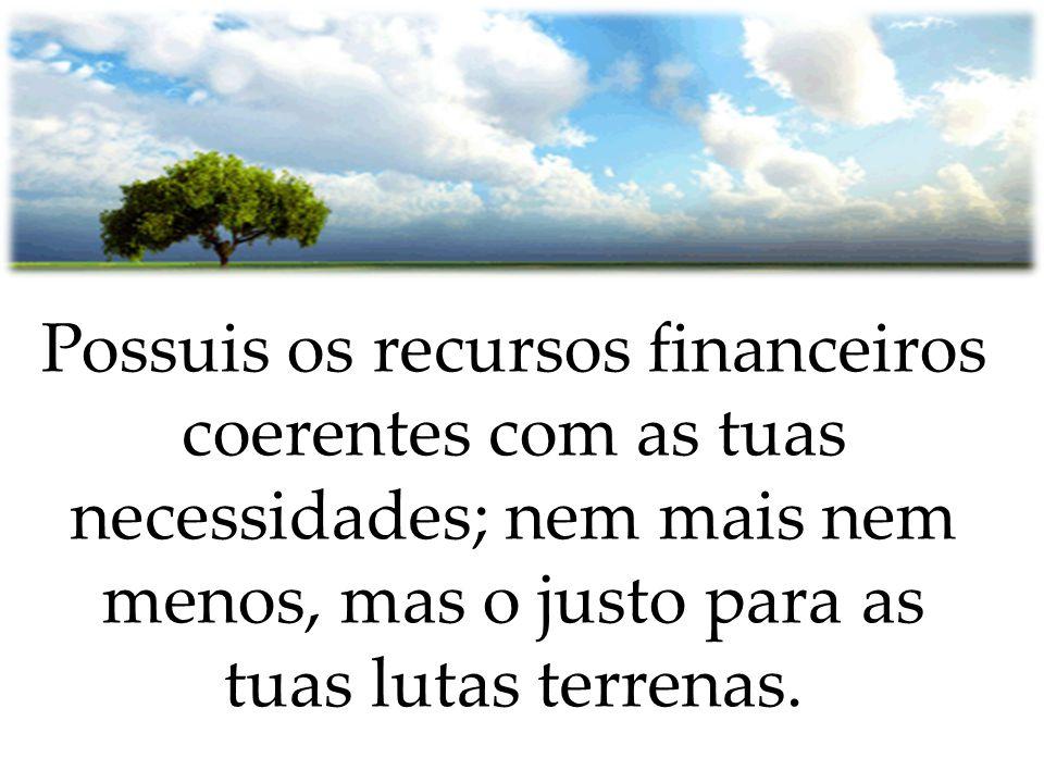 Possuis os recursos financeiros coerentes com as tuas necessidades; nem mais nem menos, mas o justo para as tuas lutas terrenas.