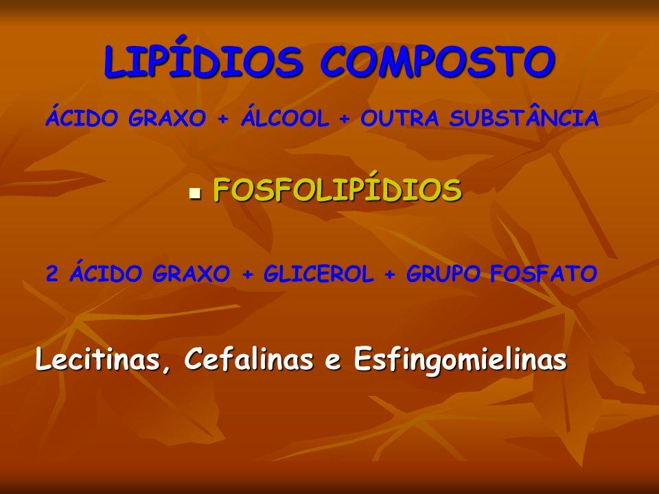 LIPÍDIOS COMPOSTO FOSFOLIPÍDIOS Lecitinas, Cefalinas e Esfingomielinas