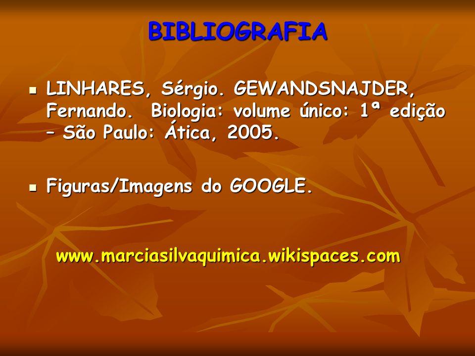 BIBLIOGRAFIA LINHARES, Sérgio. GEWANDSNAJDER, Fernando. Biologia: volume único: 1ª edição – São Paulo: Ática, 2005.