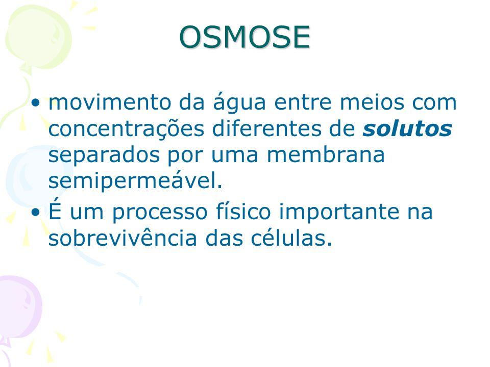 OSMOSEmovimento da água entre meios com concentrações diferentes de solutos separados por uma membrana semipermeável.