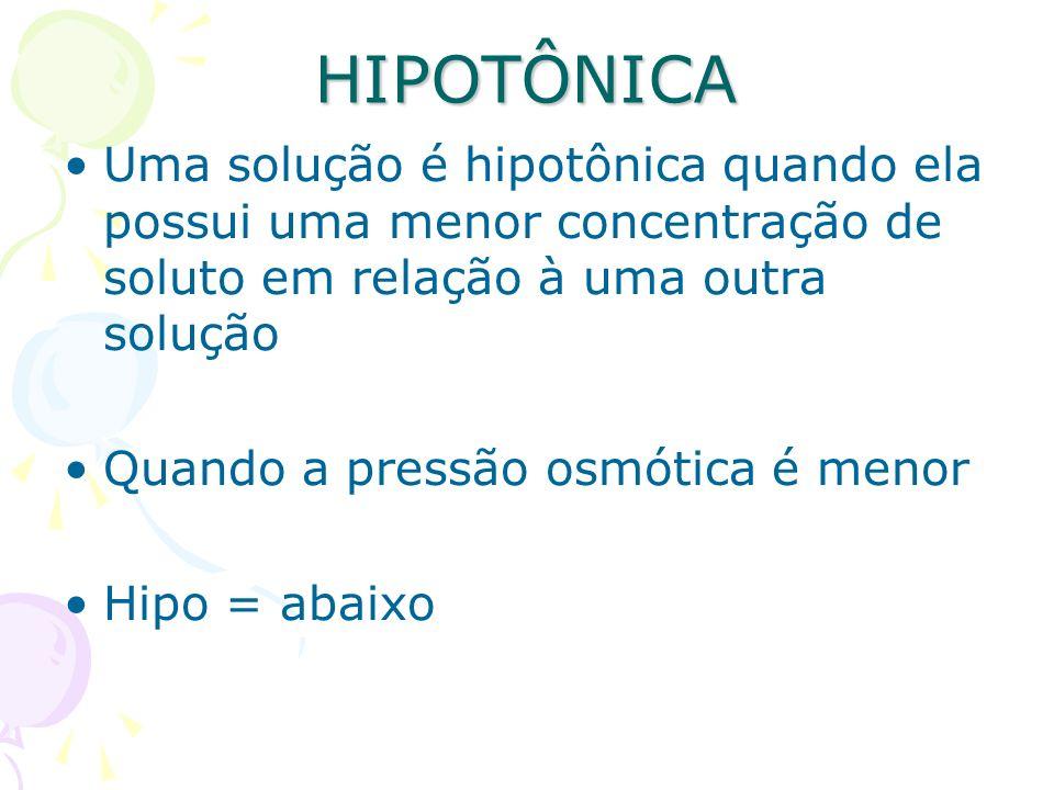 HIPOTÔNICAUma solução é hipotônica quando ela possui uma menor concentração de soluto em relação à uma outra solução.
