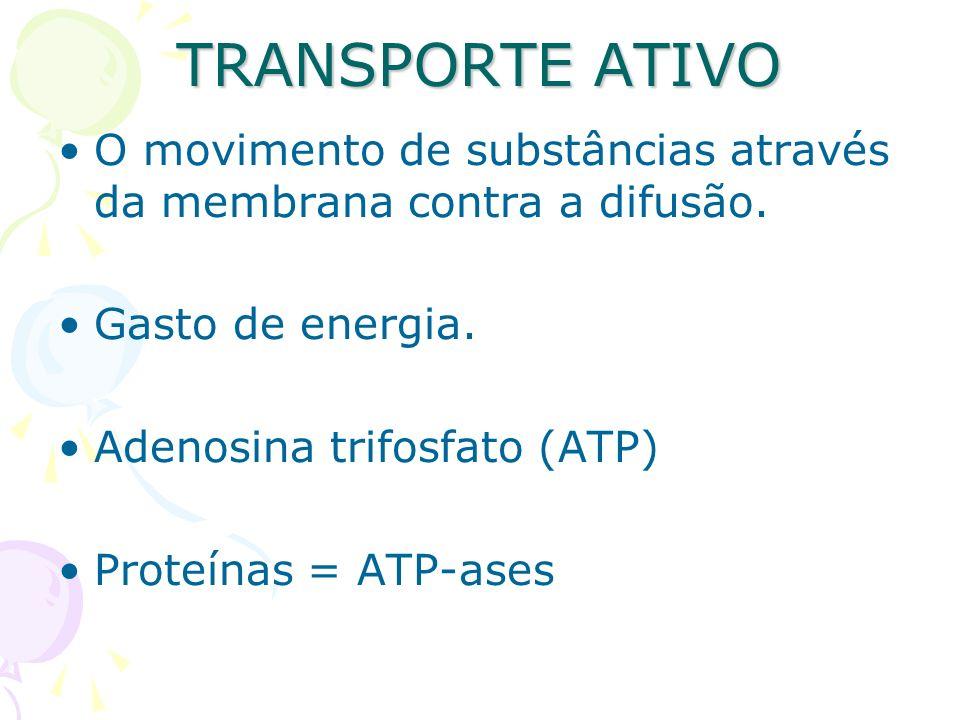TRANSPORTE ATIVO O movimento de substâncias através da membrana contra a difusão. Gasto de energia.