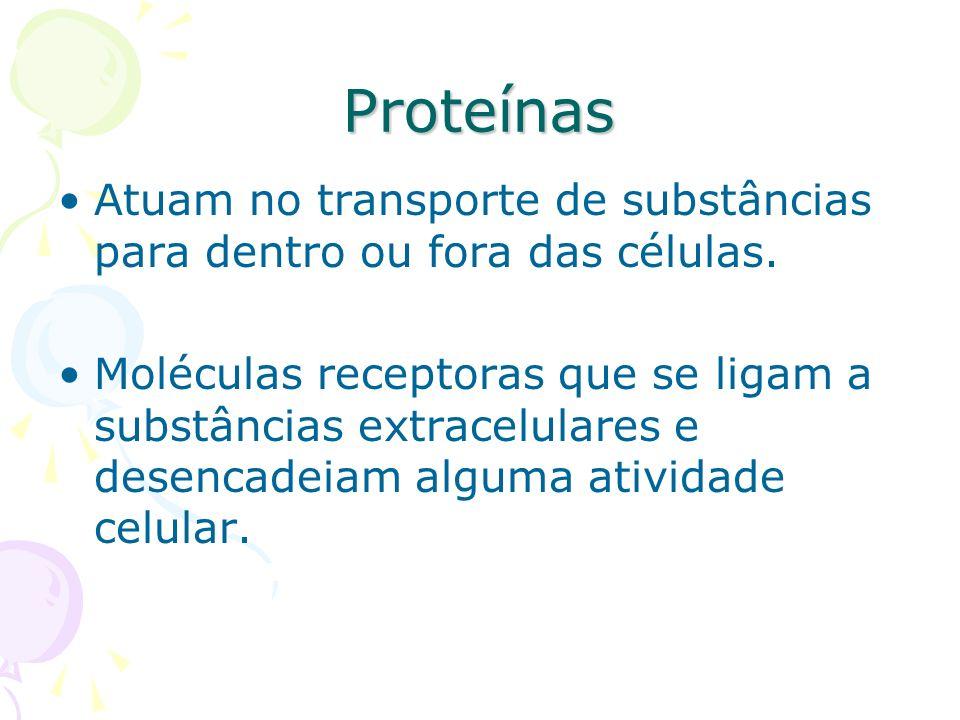 Proteínas Atuam no transporte de substâncias para dentro ou fora das células.