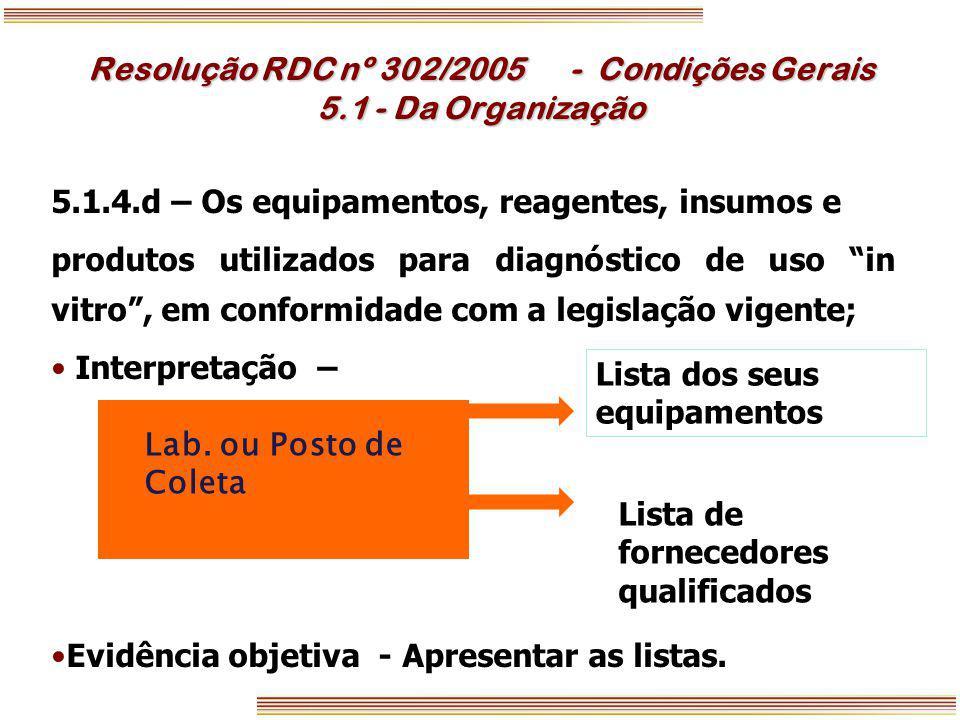 Resolução RDC nº 302/2005 - Condições Gerais 5.1 - Da Organização
