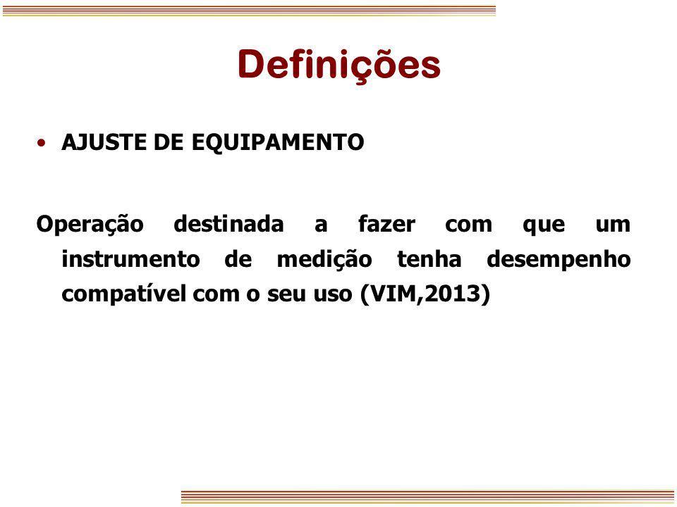 Definições AJUSTE DE EQUIPAMENTO
