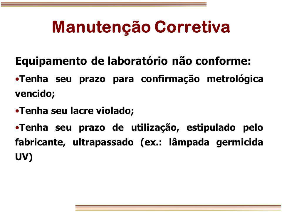 Manutenção Corretiva Equipamento de laboratório não conforme: