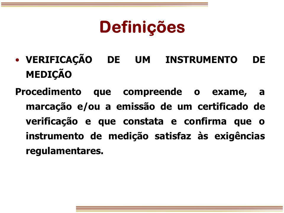 Definições VERIFICAÇÃO DE UM INSTRUMENTO DE MEDIÇÃO