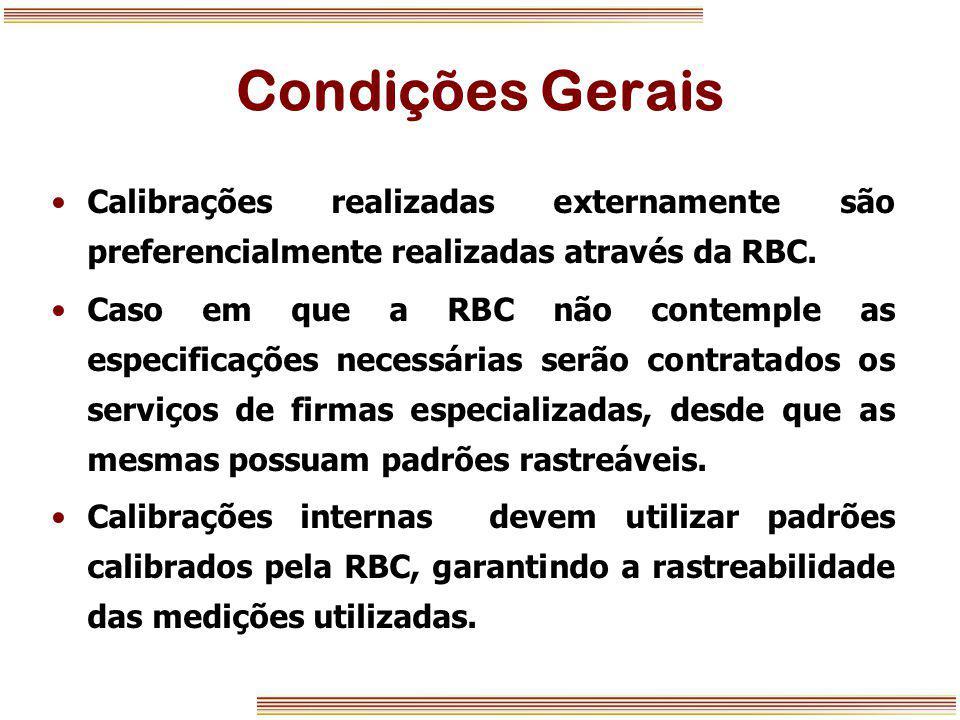 Condições Gerais Calibrações realizadas externamente são preferencialmente realizadas através da RBC.