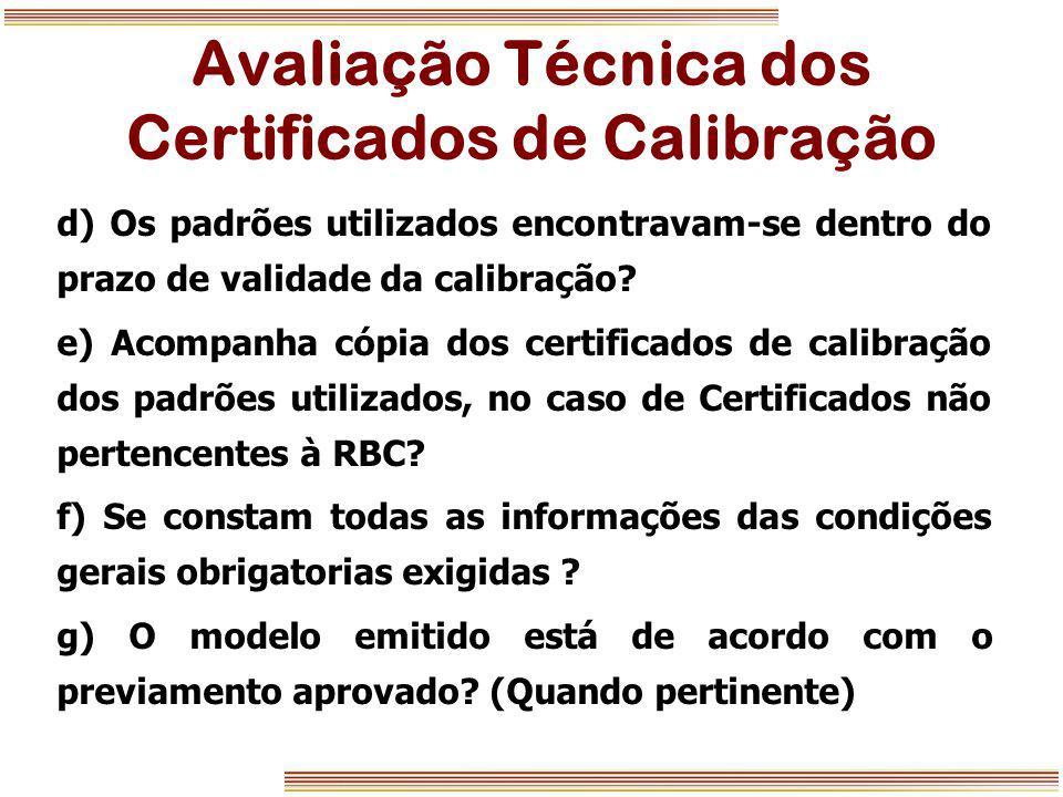 Avaliação Técnica dos Certificados de Calibração
