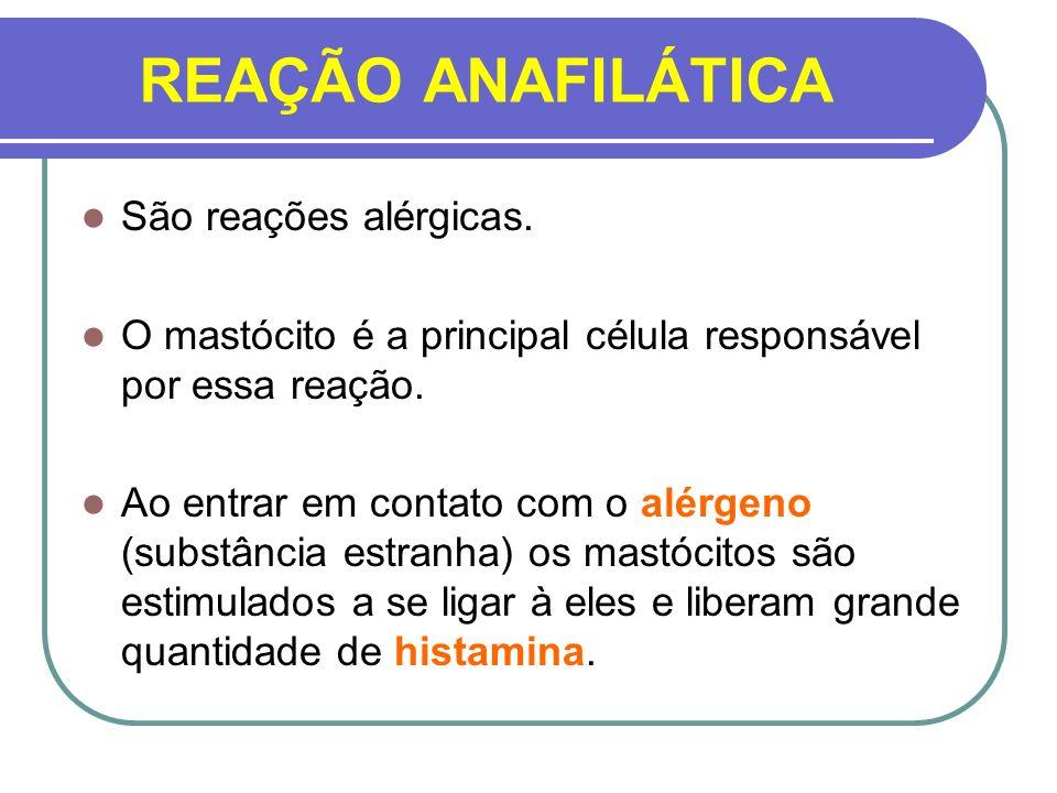 REAÇÃO ANAFILÁTICA São reações alérgicas.
