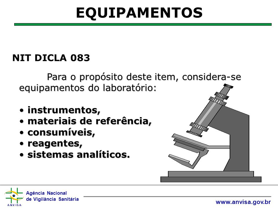 EQUIPAMENTOS NIT DICLA 083 instrumentos, materiais de referência,