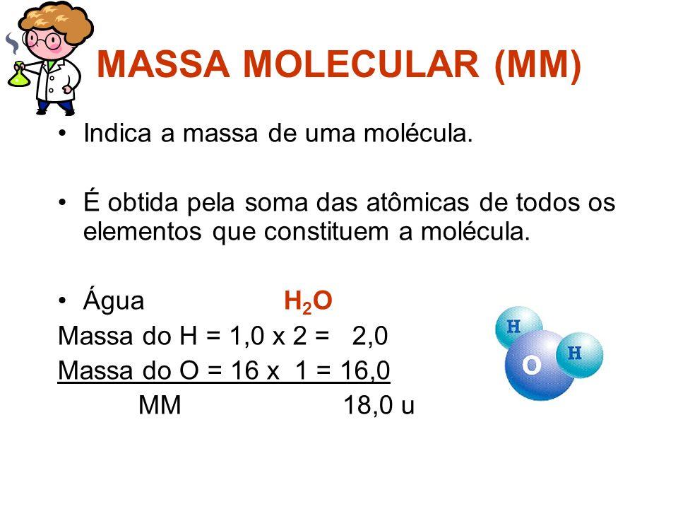 MASSA MOLECULAR (MM) Indica a massa de uma molécula.