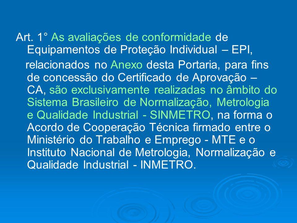 Art. 1° As avaliações de conformidade de Equipamentos de Proteção Individual – EPI,