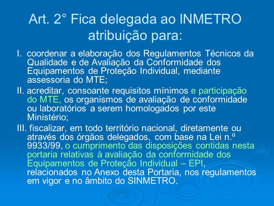 Art. 2° Fica delegada ao INMETRO atribuição para: