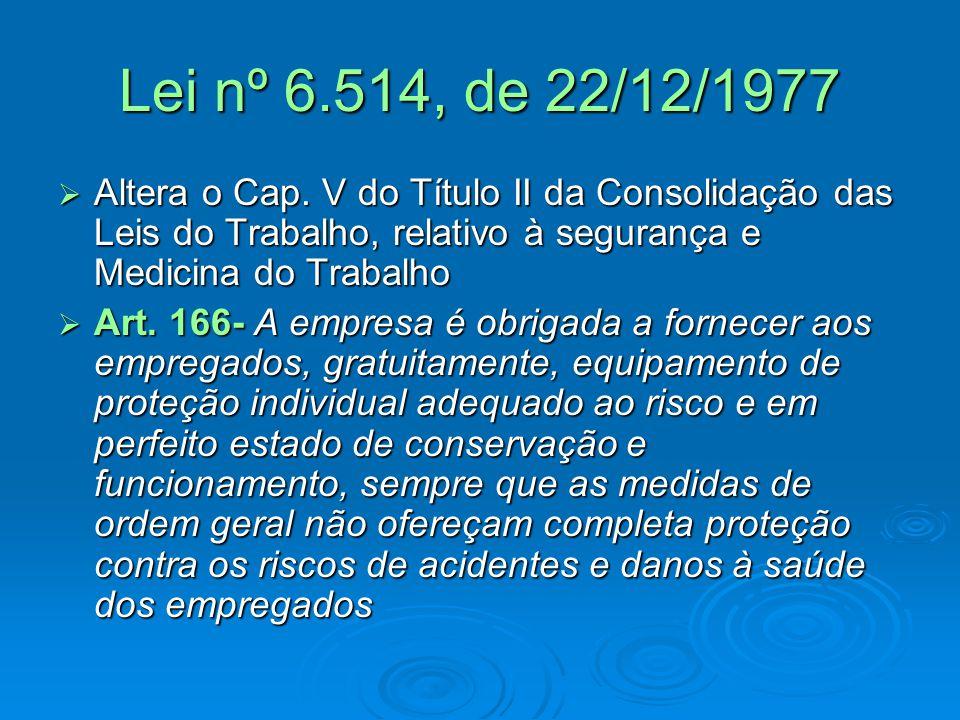Lei nº 6.514, de 22/12/1977 Altera o Cap. V do Título II da Consolidação das Leis do Trabalho, relativo à segurança e Medicina do Trabalho.