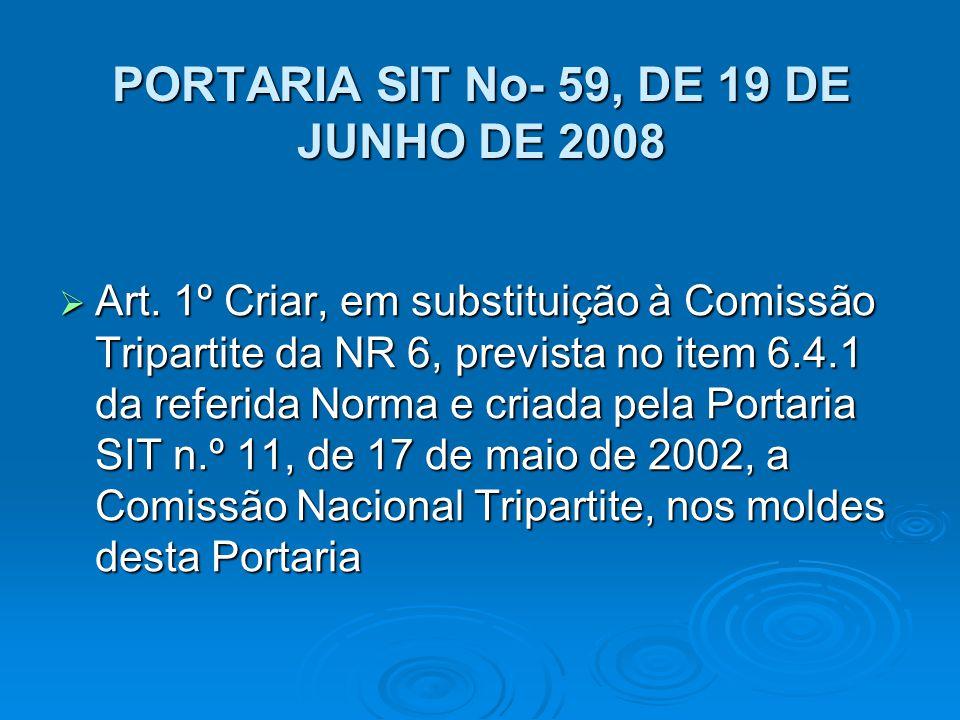 PORTARIA SIT No- 59, DE 19 DE JUNHO DE 2008