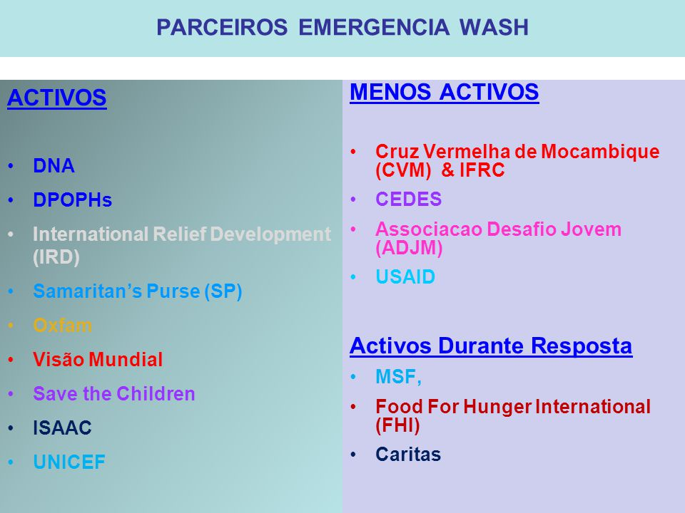 PARCEIROS EMERGENCIA WASH