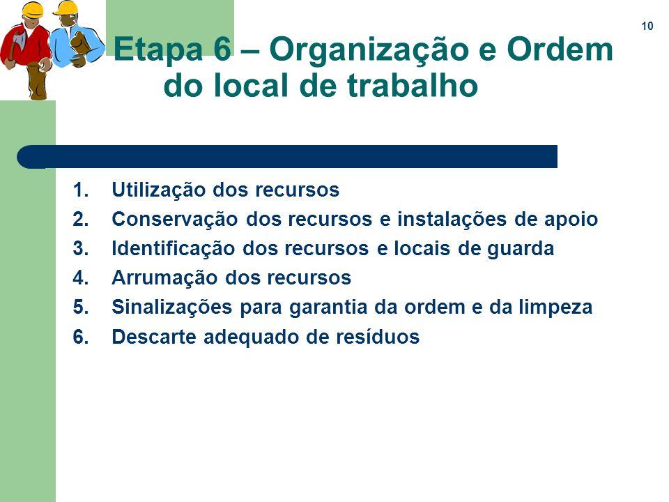 Etapa 6 – Organização e Ordem do local de trabalho