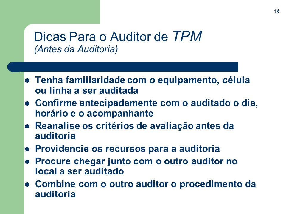 Dicas Para o Auditor de TPM (Antes da Auditoria)