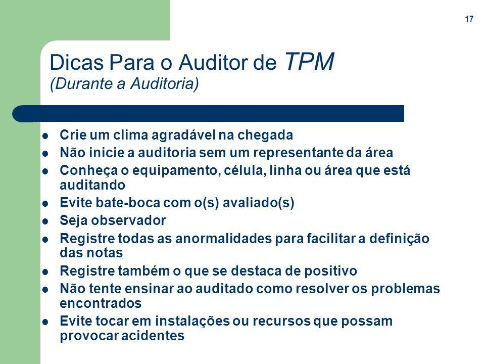 Dicas Para o Auditor de TPM (Durante a Auditoria)