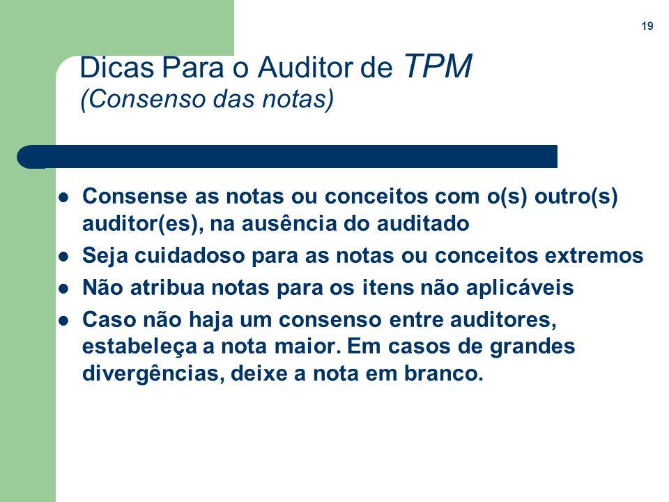 Dicas Para o Auditor de TPM (Consenso das notas)