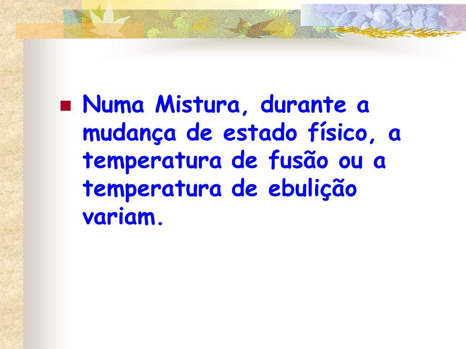 Numa Mistura, durante a mudança de estado físico, a temperatura de fusão ou a temperatura de ebulição variam.