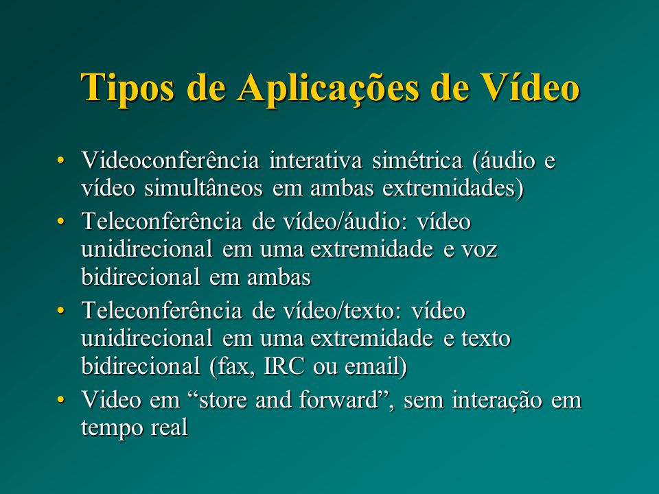 Tipos de Aplicações de Vídeo
