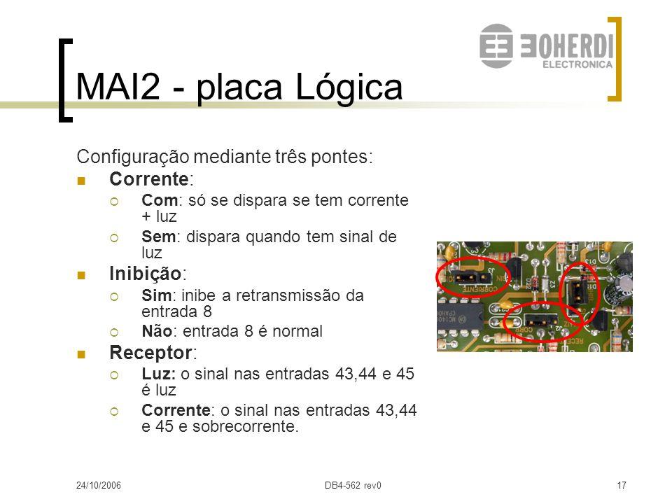 MAI2 - placa Lógica Configuração mediante três pontes: Corrente: