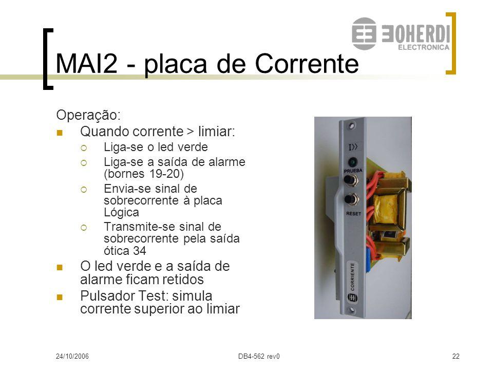 MAI2 - placa de Corrente Operação: Quando corrente > limiar: