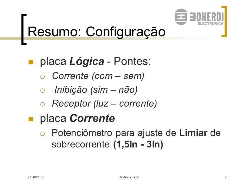 Resumo: Configuração placa Lógica - Pontes: placa Corrente