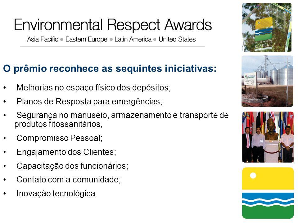 O prêmio reconhece as sequintes iniciativas: