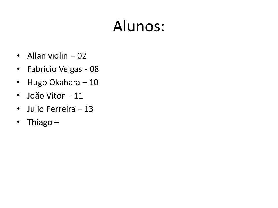 Alunos: Allan violin – 02 Fabricio Veigas - 08 Hugo Okahara – 10