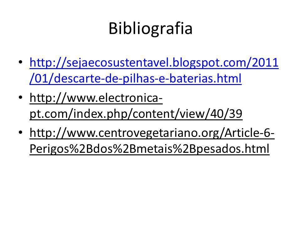 Bibliografia http://sejaecosustentavel.blogspot.com/2011/01/descarte-de-pilhas-e-baterias.html.