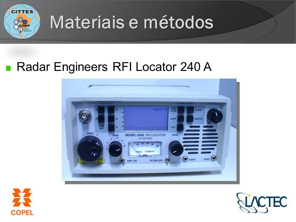 Materiais e métodos Radar Engineers RFI Locator 240 A