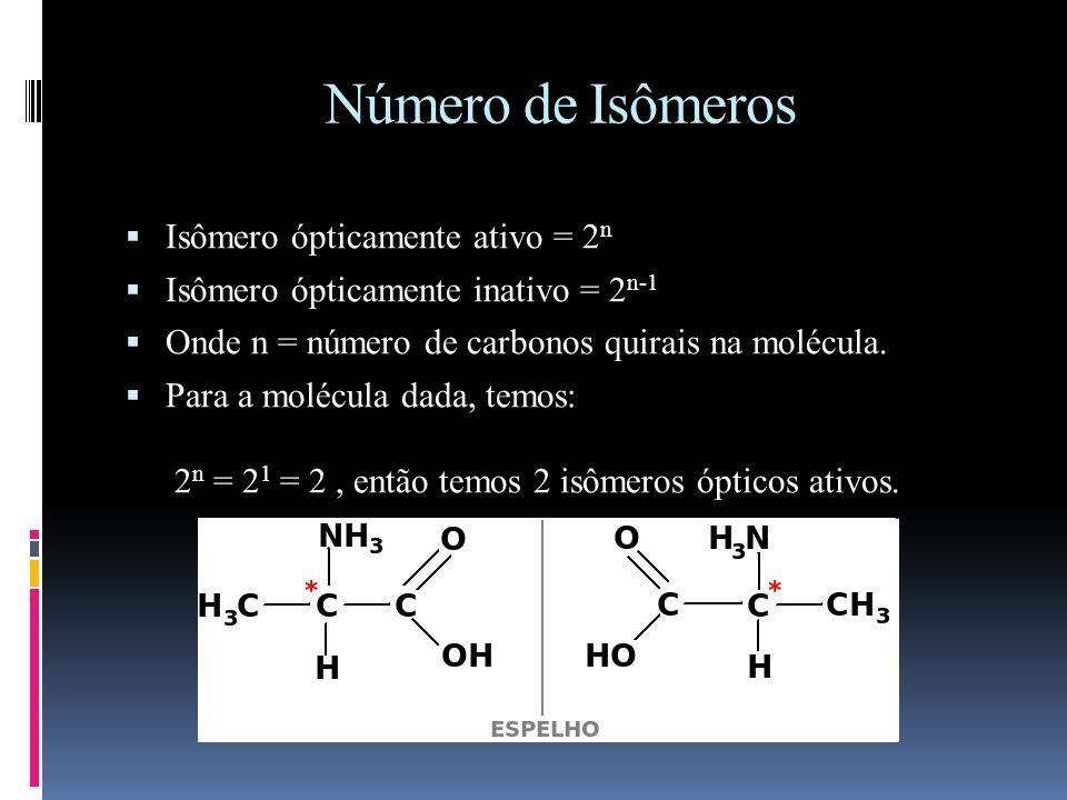 Número de Isômeros Isômero ópticamente ativo = 2n