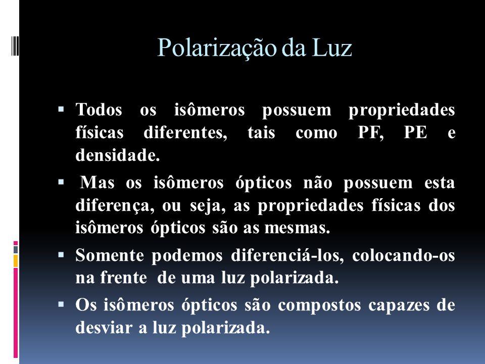 Polarização da Luz Todos os isômeros possuem propriedades físicas diferentes, tais como PF, PE e densidade.