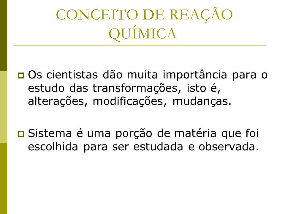 CONCEITO DE REAÇÃO QUÍMICA