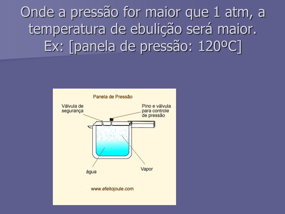 Onde a pressão for maior que 1 atm, a temperatura de ebulição será maior.