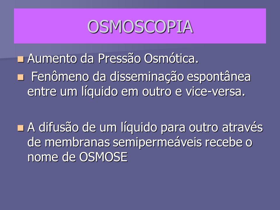 OSMOSCOPIA Aumento da Pressão Osmótica.