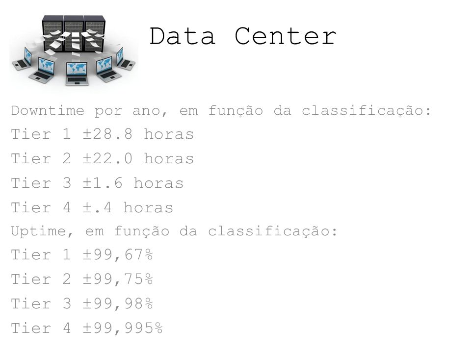 Data Center Tier 1 ±28.8 horas Tier 2 ±22.0 horas Tier 3 ±1.6 horas