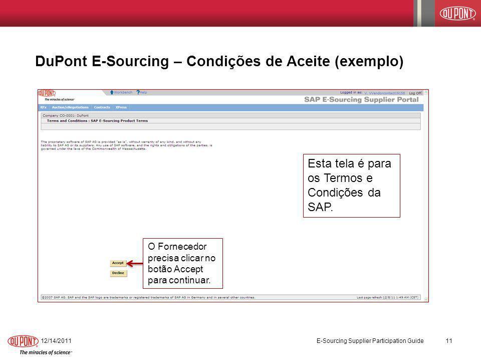 DuPont E-Sourcing – Condições de Aceite (exemplo)