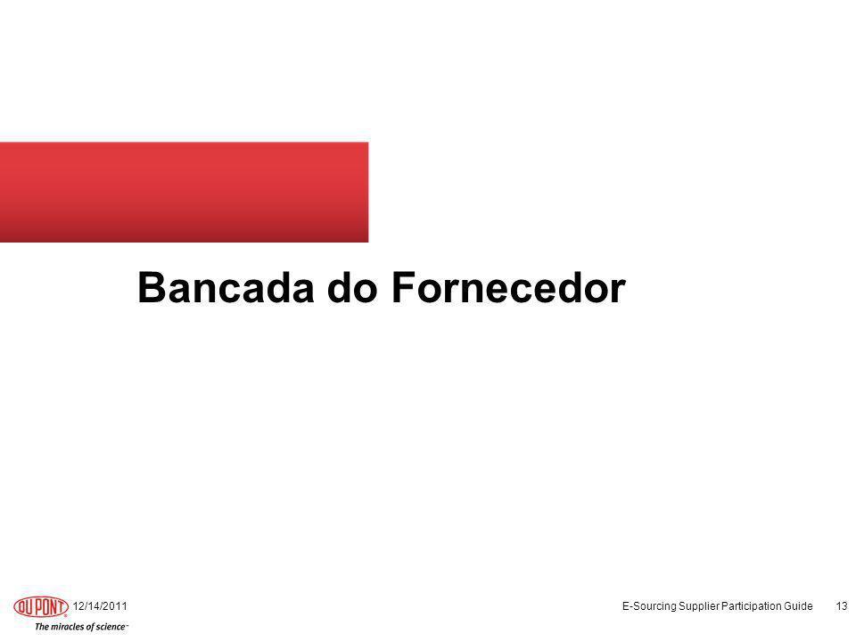 Bancada do Fornecedor 12/14/2011