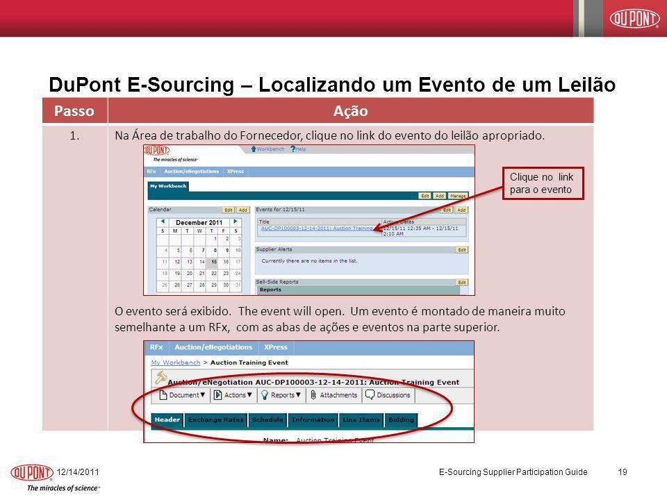 DuPont E-Sourcing – Localizando um Evento de um Leilão