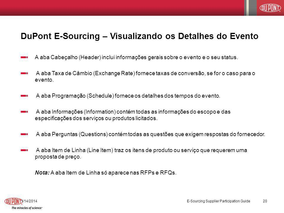 DuPont E-Sourcing – Visualizando os Detalhes do Evento