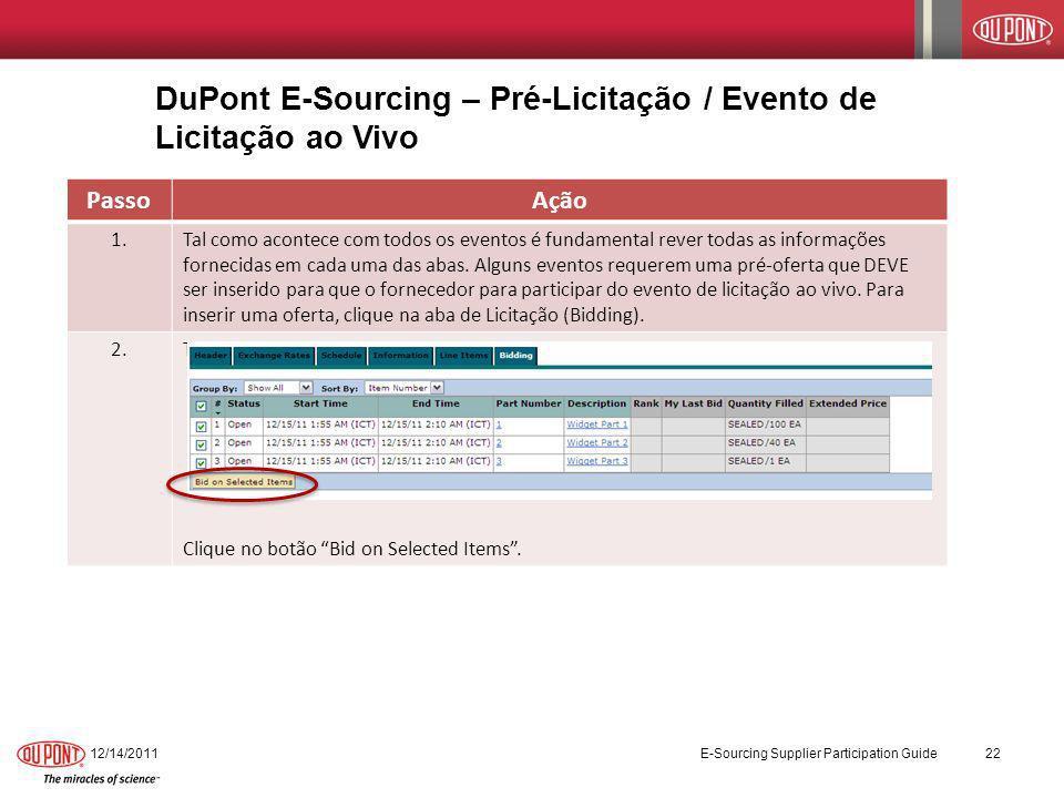DuPont E-Sourcing – Pré-Licitação / Evento de Licitação ao Vivo