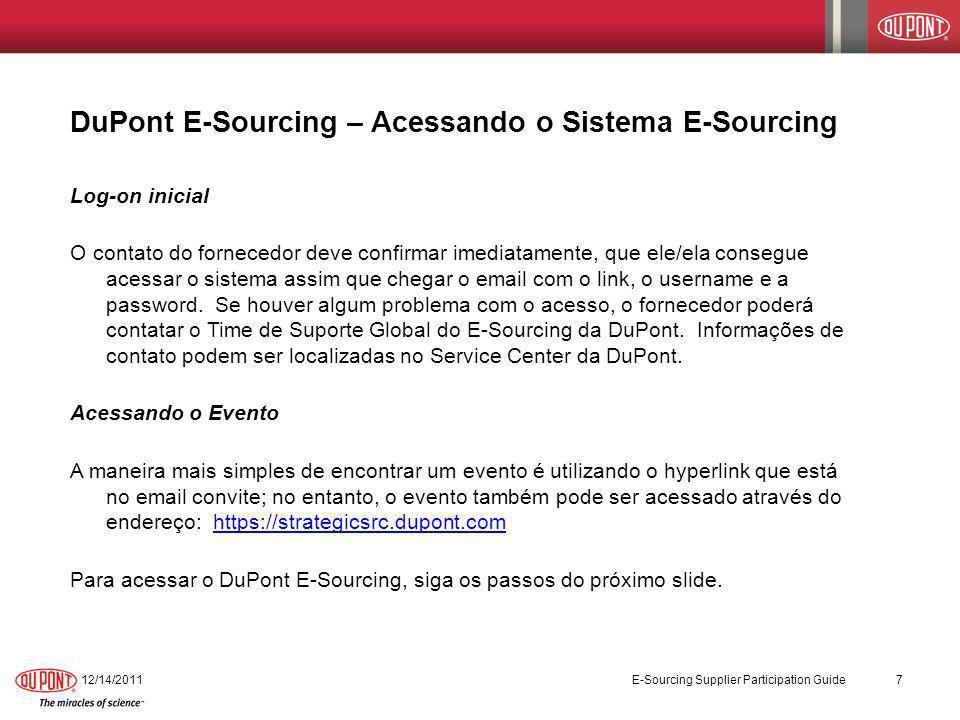 DuPont E-Sourcing – Acessando o Sistema E-Sourcing