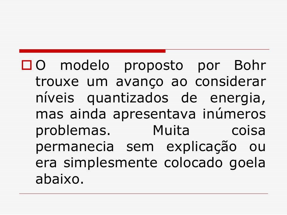 O modelo proposto por Bohr trouxe um avanço ao considerar níveis quantizados de energia, mas ainda apresentava inúmeros problemas.